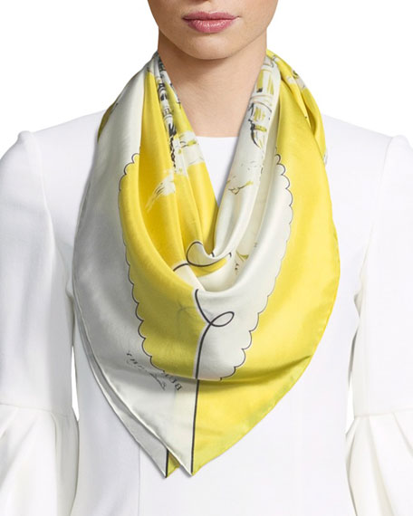 Burberry Silk London Landscape Scarf, Bright Yellow