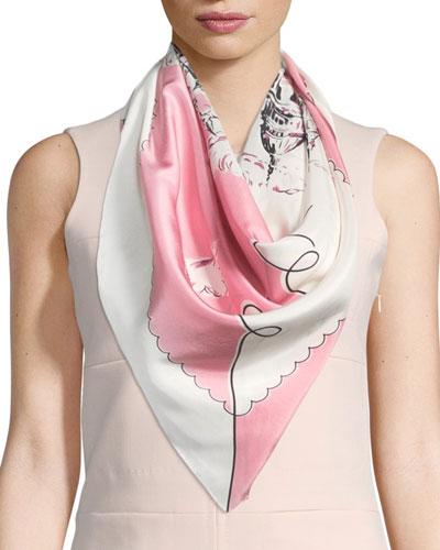 Silk London Landscape Scarf, Rose