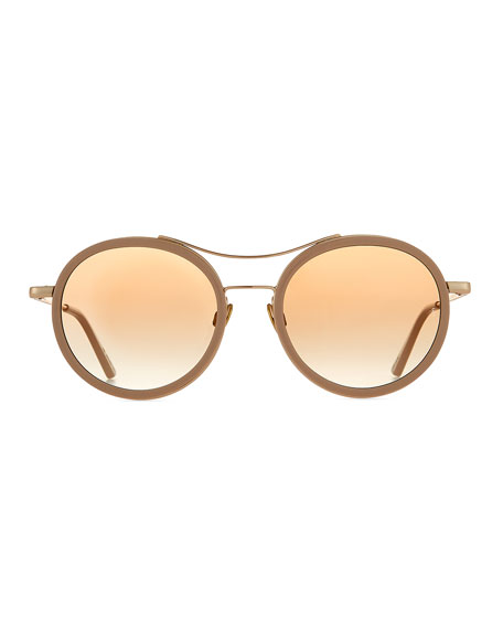 Roso Acetate & Metal Round Sunglasses