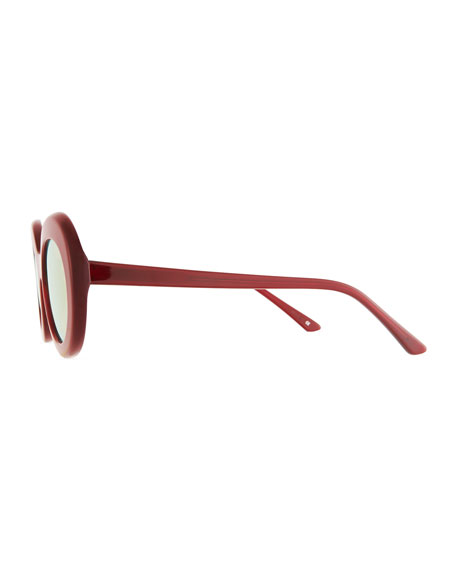 Kurt Oval Mirrored Acetate Sunglasses, Red