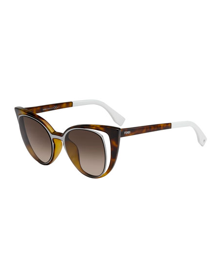 Fendi Open-Inset Square Cat-Eye Sunglasses