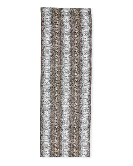 Elettra Snake-Pattern Stole in Azzurro