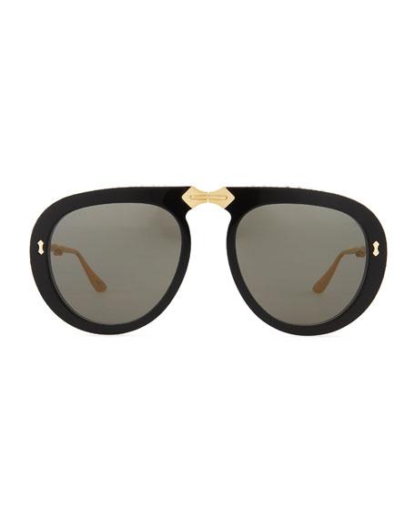 Acetate & Metal Foldable Sunglasses w/ Crystal Trim
