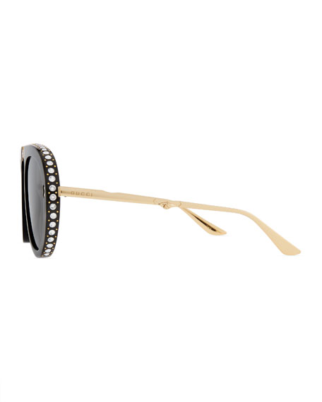 Acetate & Metal Foldable Sunglasses w/ Crystal Trim
