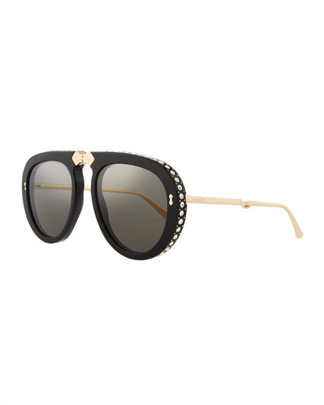 Gucci Acetate & Metal Foldable Sunglasses w/ Crystal