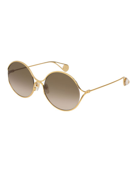 Round Forked Metal Sunglasses, Gold/Brown