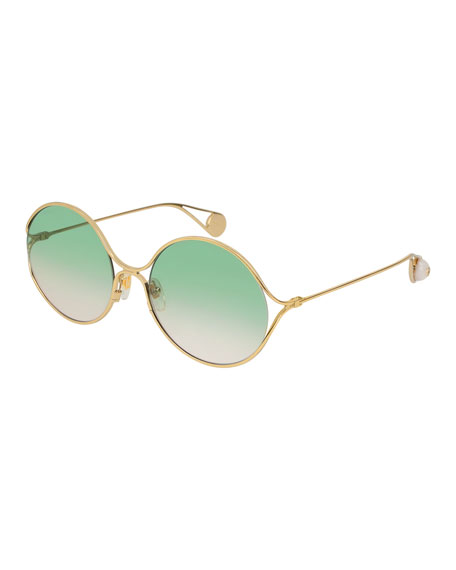 Iridescent Round Forked Metal Sunglasses, Gold/Sage