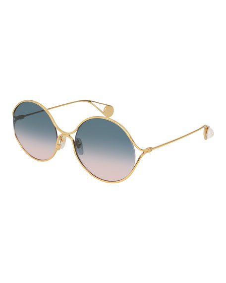 Gucci Iridescent Round Forked Metal Sunglasses, Gold/Blue