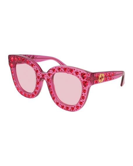 Gucci Cat-Eye Crystal-Heart Acetate Sunglasses