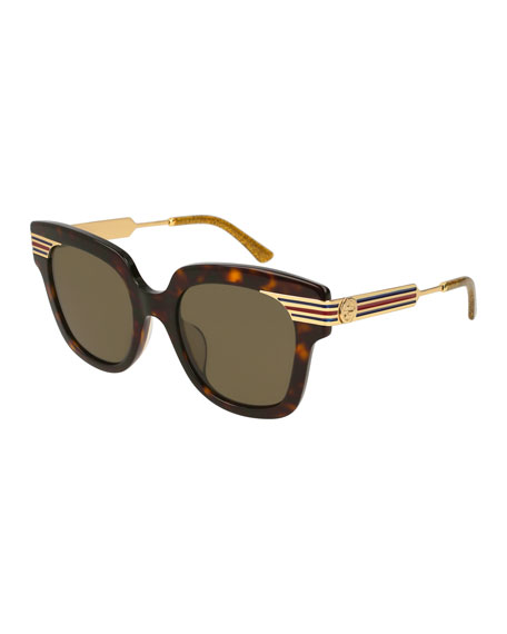 Gucci Metal & Acetate Square Sylvie Web Sunglasses,