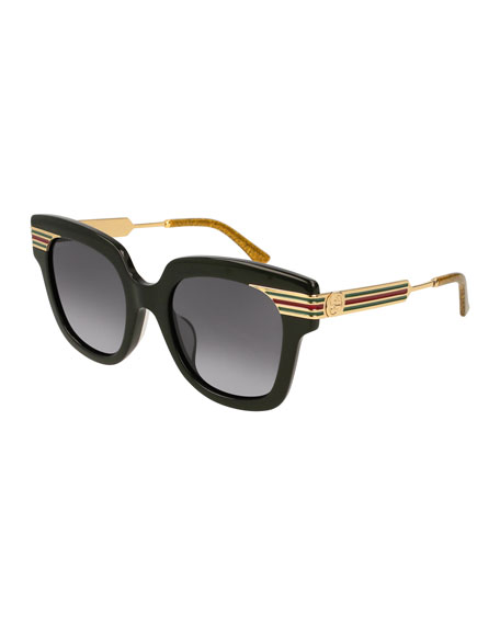 Metal & Acetate Square Sylvie Web Sunglasses, Black