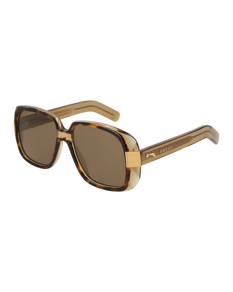 Gucci Oversized Square Acetate Sunglasses, Brown Pattern