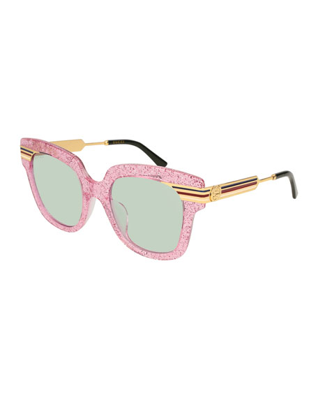 Metal & Glittered Acetate Square Sylvie Web Sunglasses, Pink