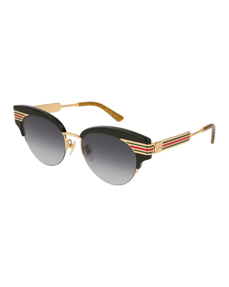 Gucci Metal & Acetate Cat-Eye Sylvie Web Sunglasses,
