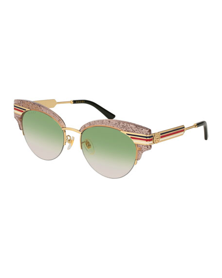 Gucci Metal & Glittered Acetate Cat-Eye Sylvie Web