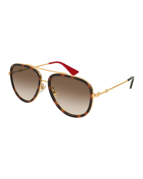 Metal Gradient Aviator Sunglasses, Gold/Brown