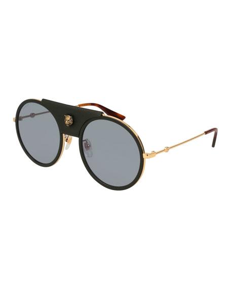 Gucci Round Web Sunglasses w/ Leather Trim, Gold/Black