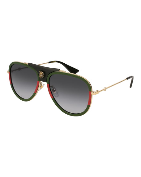 Gradient Web Aviator Sunglasses w/ Leather Trim, Gold/Green/Red