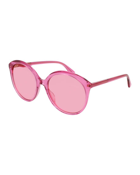 Semi-Transparent Round Acetate Sunglasses, Fuchsia