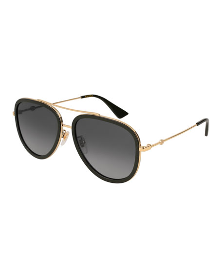 Metal & Acetate Gradient Round Sunglasses, Gold/Black