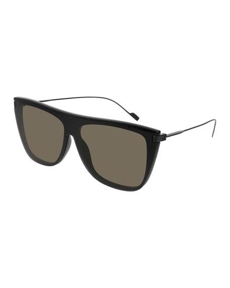 Saint Laurent Flattop Titanium Rectangle Sunglasses