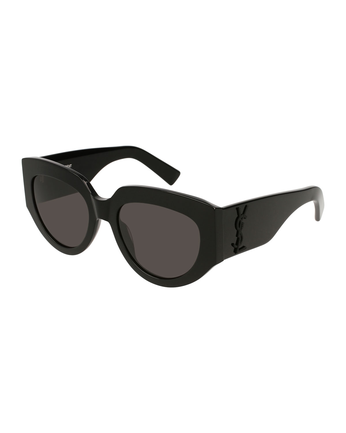c25a805812d Saint Laurent Cat-Eye Acetate Sunglasses w/ YSL Pin, Black | Neiman ...