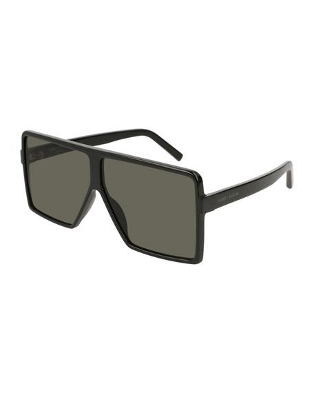 SL 183 Betty 63mm Acetate Shield Sunglasses, Black
