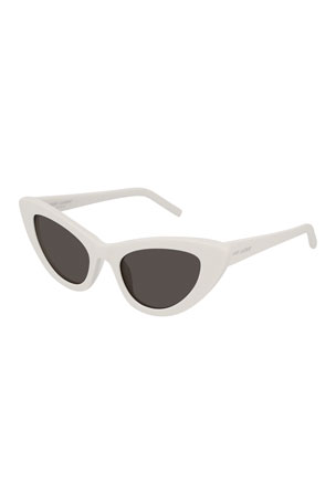 Saint Laurent Lily Cat-Eye Acetate Sunglasses, Ivory