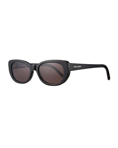 SL 183 Betty 66mm Acetate Shield Sunglasses, Black