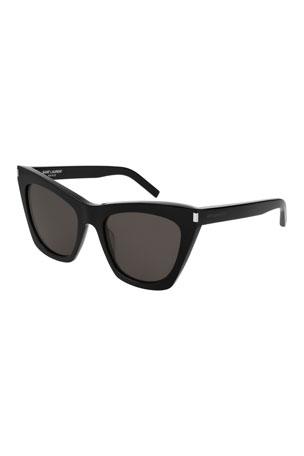 Saint Laurent Kate Cat-Eye Acetate Sunglasses, Black