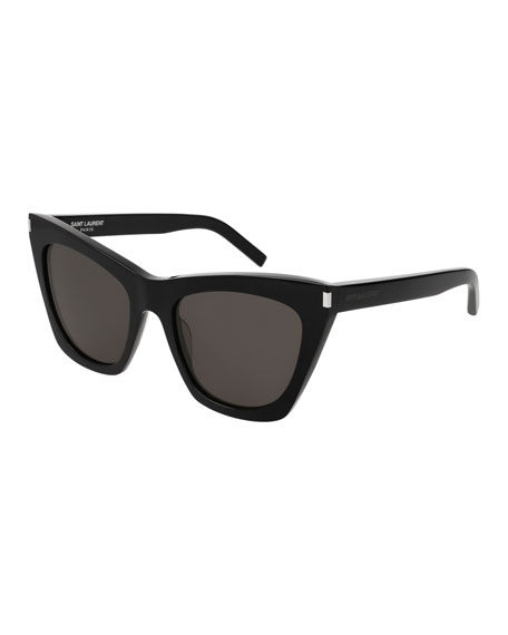 Saint Laurent Kate Cat-Eye Acetate Sunglasses, Black