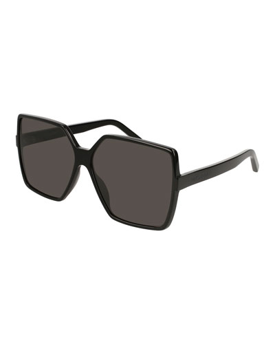 SL 232 Betty Oversized Square Gradient Sunglasses, Black