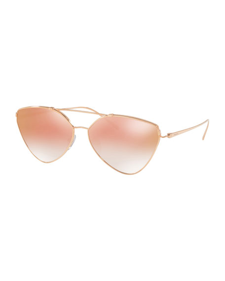 Prada Mirrored Aviator Sunglasses, Gold