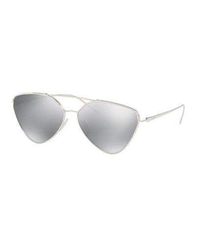 Mirrored Aviator Sunglasses, Silver