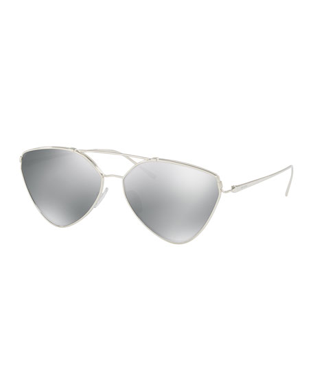 Prada Mirrored Aviator Sunglasses, Silver