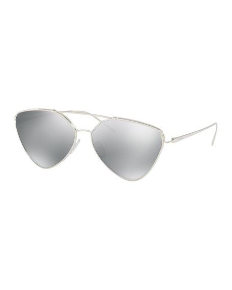 Prada Mirrored Aviator Sunglasses, Silver