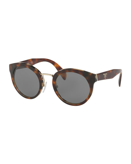 Prada Round Acetate Sunglasses w/ Metal Trim