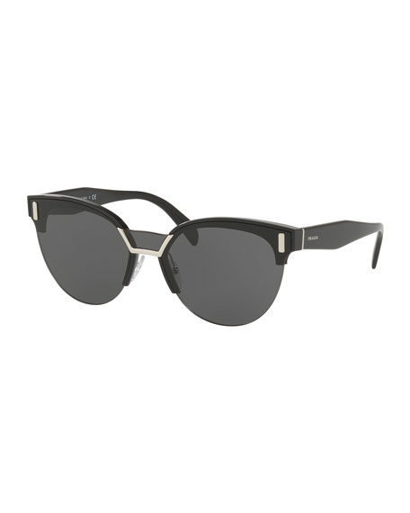 Prada Semi-Rimless Butterfly Sunglasses