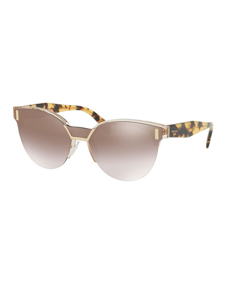 Prada Semi-Rimless Mirrored Butterfly Sunglasses