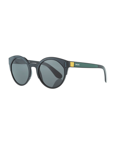 Prada Round Colorblock Sunglasses, Gray