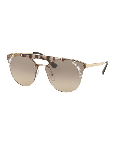 Prada Round Gradient Sunglasses w/ Crystal Trim