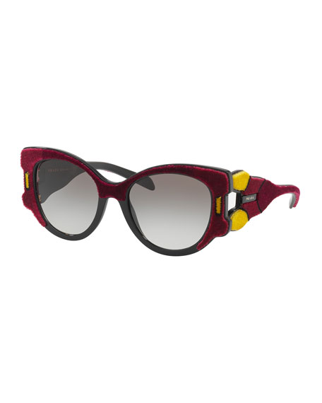 Prada Butterfly Gradient Sunglasses w/ Velvet Detail, Red