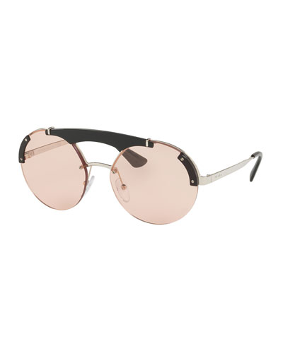 Round Metal Sunglasses w/ Contrast Trim