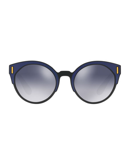 Round Colorblock Mirrored Sunglasses, Black/Blue