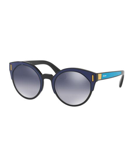 Prada Round Colorblock Mirrored Sunglasses, Black/Blue