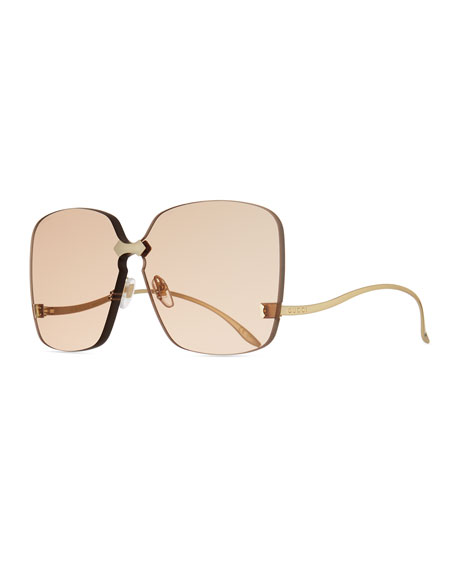 Gucci Rimless Square Low-Temple Sunglasses