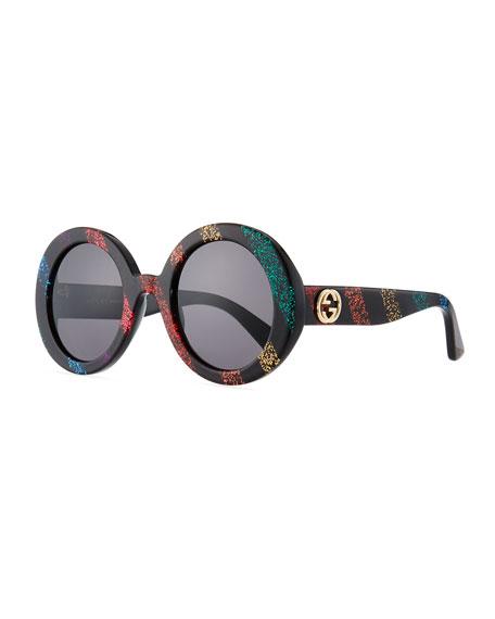 Glitter Striped Round Acetate Sunglasses