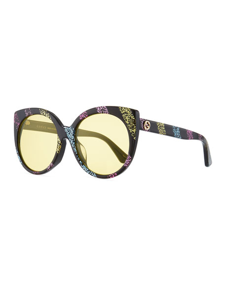 Glitter Striped Cat-Eye Sunglasses