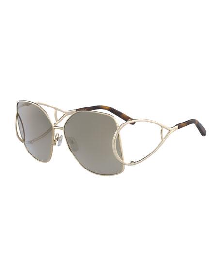 Chloe Jackson Square Oversized Mirrored Sunglasses