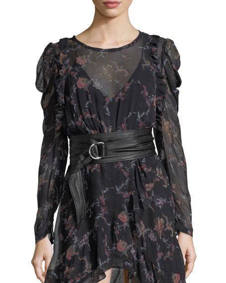 Iro Loxie Floral-Print Chiffon Short Dress and Matching